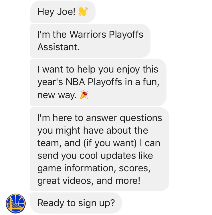 Golden State Warriors Messenger Bot